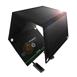 RAVPower 15W Solar Charger with Dual USB Port (Foldable, Portable, iSmart Technology)