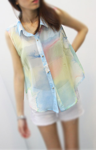 Galaxy Sleeveless Chiffon Top