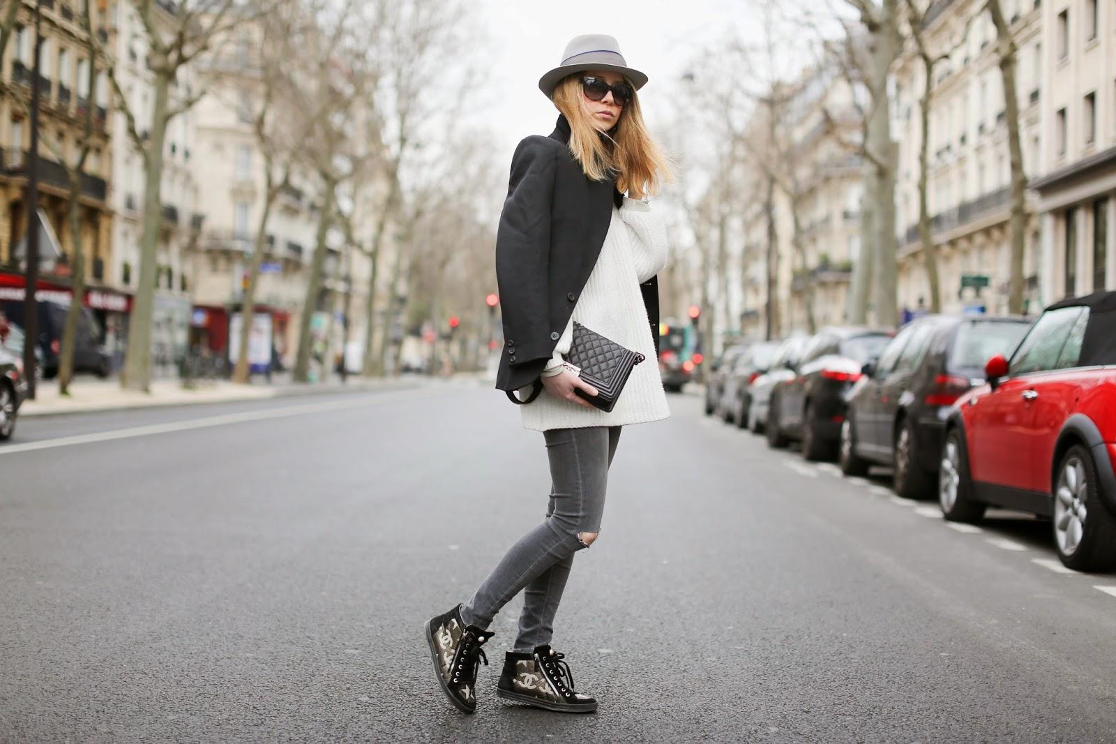 chanel, sneakers, vanessa bruno, maison michel, streetstyle, paris, pardonmyobsession