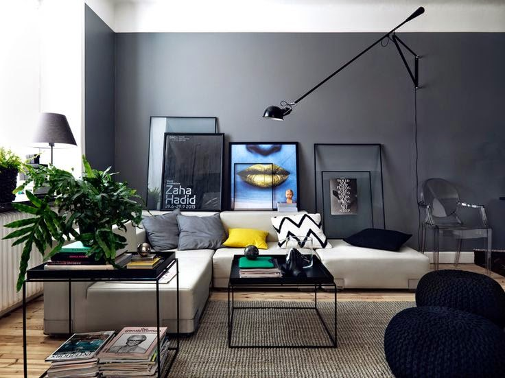 Sala De Estar Parede Cinza ~  fácil e estilosa pra você!  Jeito de Casa  Blog de Decoração