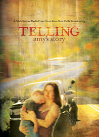 Movie poster from Telling Amy's Story featuring woman and child.