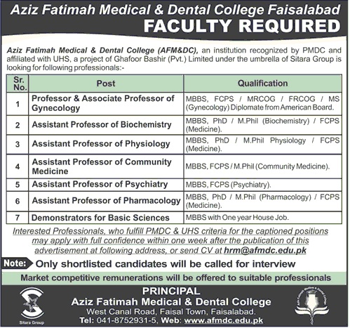 Doctors Faculty Jobs at Aziz Fatimah Medical & Dental College Faisalabad