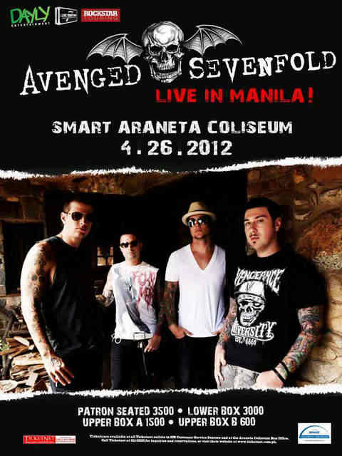 avenged sevenfold live in manila poster 2012, 2013