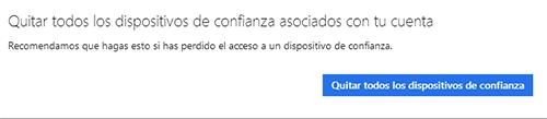 quitar dispositvos de confianza cuenta Microsoft