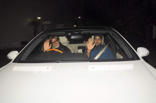 Amitabh & Abhishek Bachchan @ Screening Of Singham