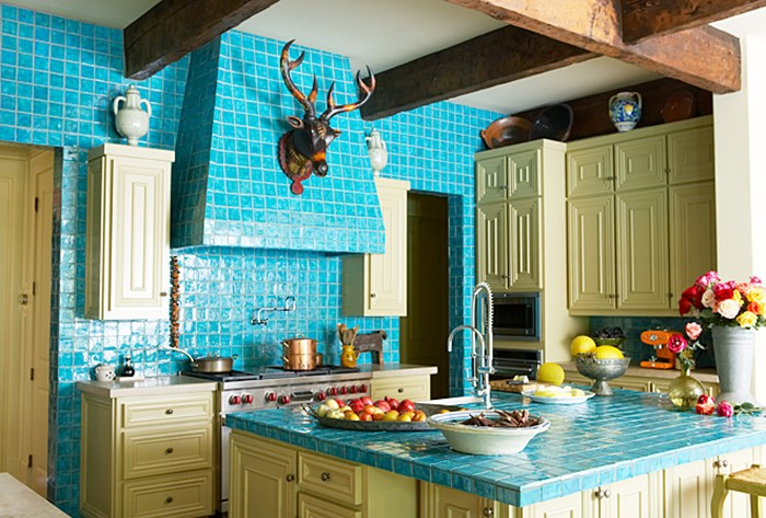 turquoise tile kitchen decorating ideas beamed ceiling home decor jpg