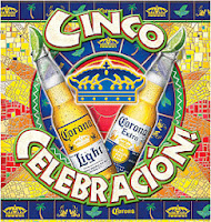 Colorful Image of a banner ad for the Cinco de Mayo celebrations with two Corona beers in between the Corona logo