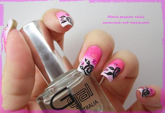 Nail art dégradé coloré et roses noires5