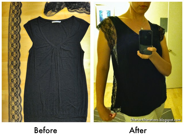 Ulterior Alterations: T-Shirt Refashion with Lace Trim Before & After