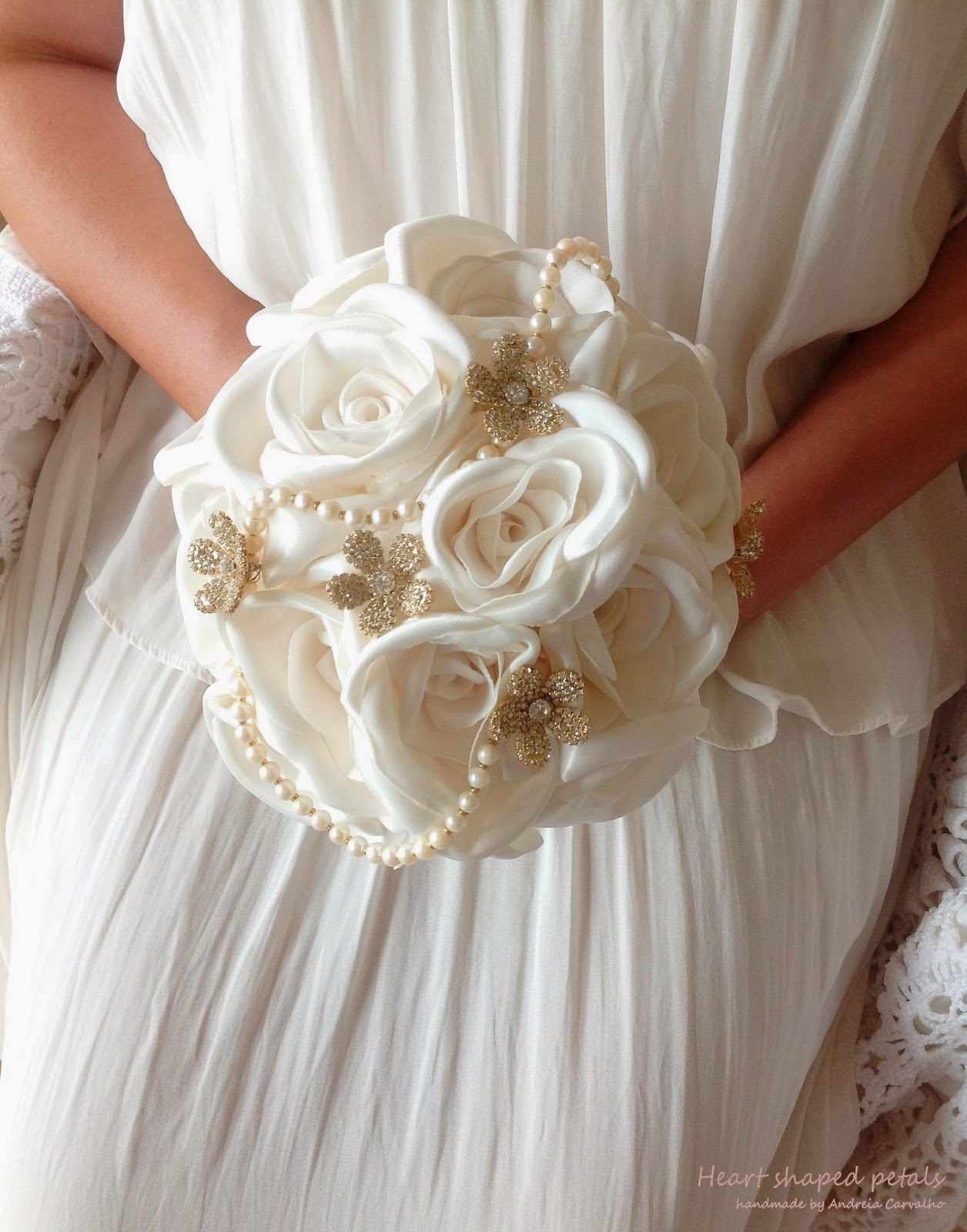 Fabric bridal bouquet white roses