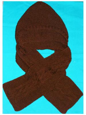 fular cu gluga tricotat manual handmade maro iarna Craciun