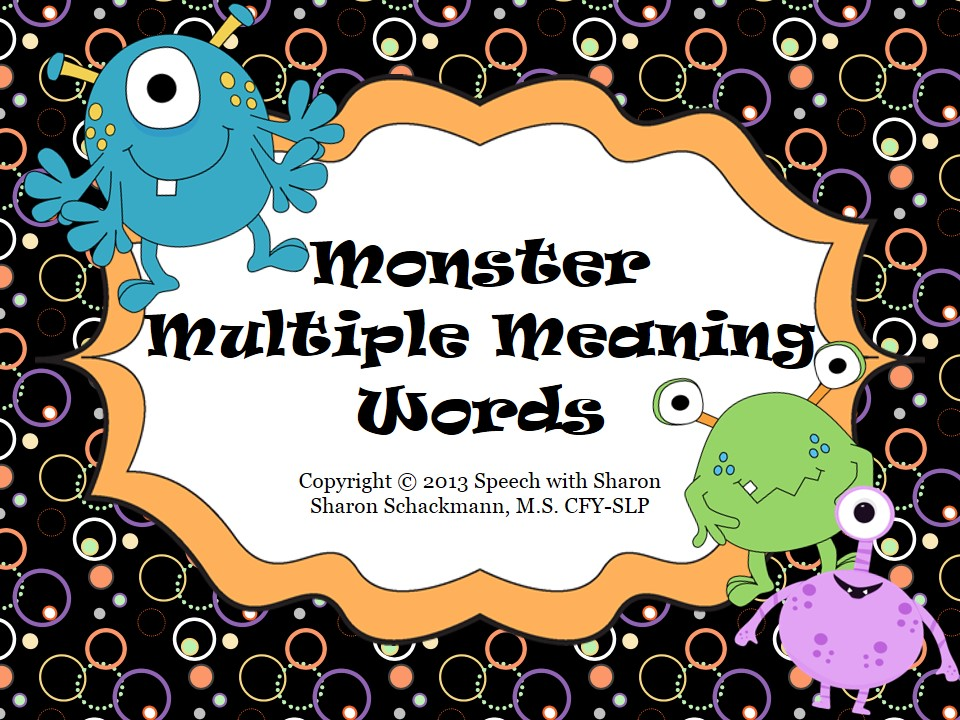 math worksheet : speech with sharon monster multiple meaning words : Multiple Meaning Words Worksheets 6th Grade