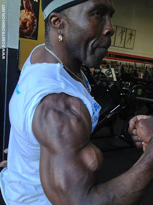 ROBBY ROBINSON AT 67 - BICEPS CURLS PHOTO SHOOT AT GOLD'S GYM VENICE, CA 2013 Robby's CONSULTATION Services to answer your questions  about bodybuilding, old school training and healthy lifestyle -  ▶ www.robbyrobinson.net/consultation.php