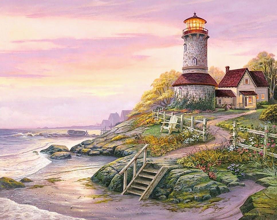 Pintura moderna y fotograf a art stica paisajes con - Paisajes de casas ...