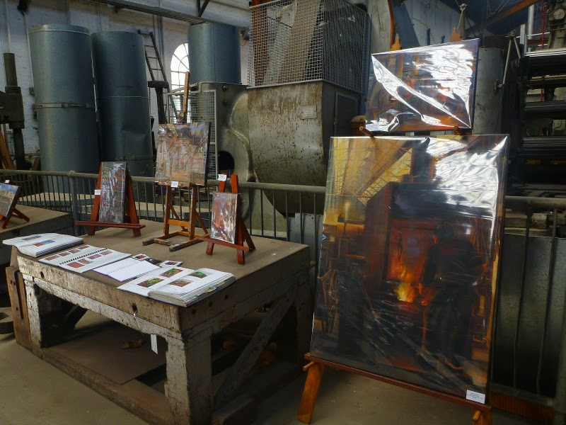 oil painting of blacksmith's forge, Eveleigh Railway Workshops by industrial heritage artist Jane Bennett