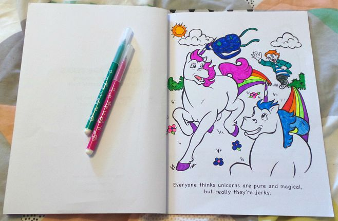 unicorns are jerks colouring book