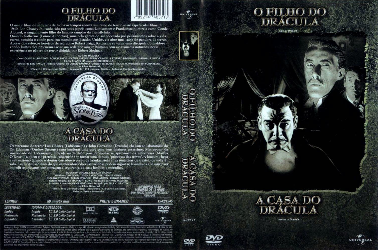 Capa DVD O Filho Do Drácula / A Casa Do Drácula