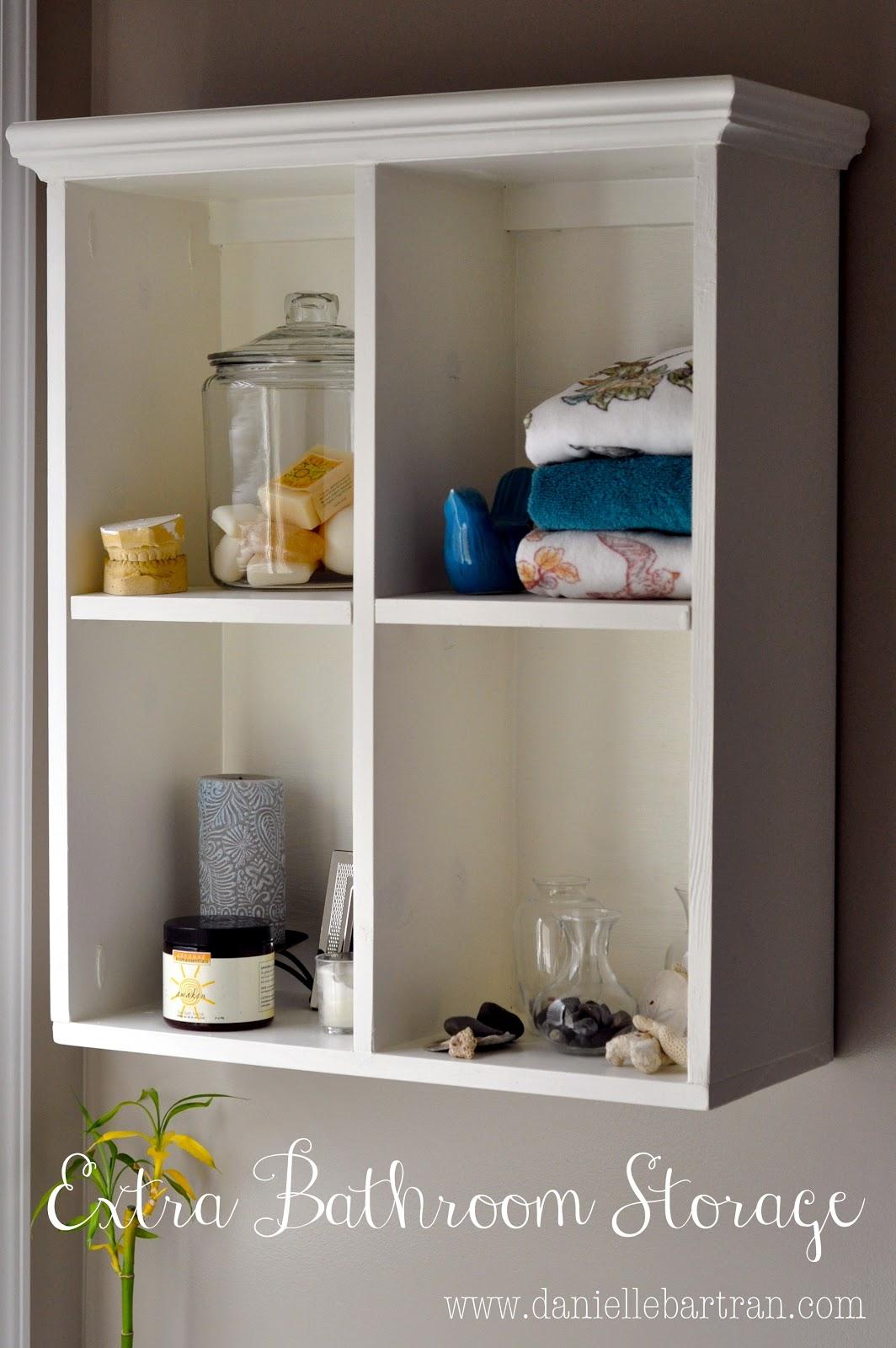 Made master bathroom update diy shelving mirrors for Diy bathroom storage shelves