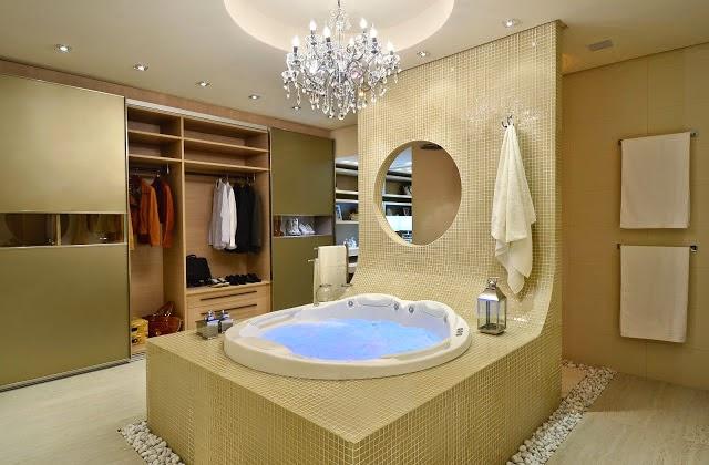 Closets e banheiros integrados maravilhosos  confira essa tendência!  Decor -> Closet Com Banheiro Integrado Pequeno