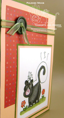 Picture of the front of the skunk birthday card set at an angle to show the dimension of its elements