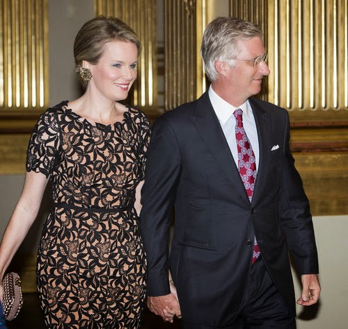 Belgian Queen Mathilde, King Philippe, Princess Claire and Prince Laurent during the autumn concert at the Royal Palace