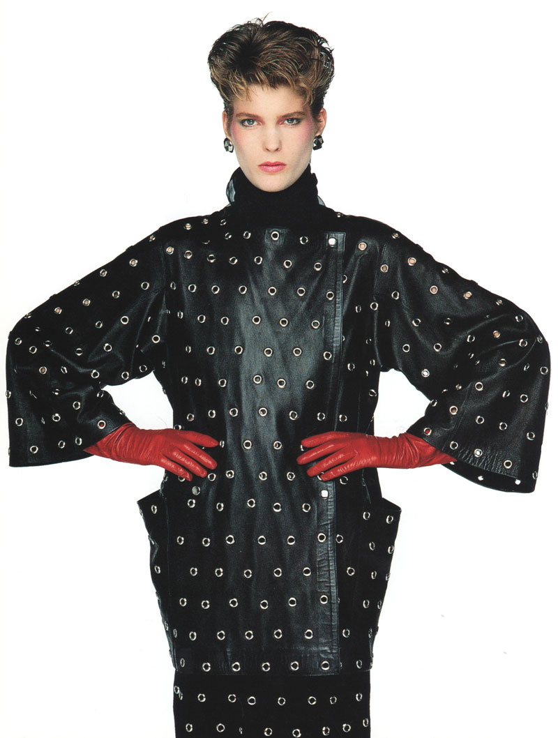 black leather tunic designed by Alaia in 1980
