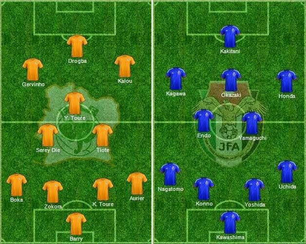 FIFA World Cup 2014 - Ivory Coast Vs Japan Starting Lineups