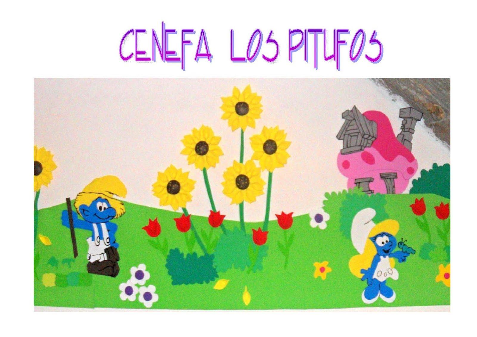 Arte Color: Cenefa en foamy de Los Pitufos