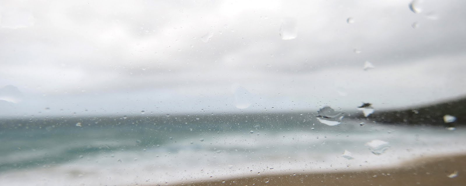 RAINY DAY - PORTHMEOR BEACH<br>OUR INSPIRING VIEW THROUGH THE STUDIO WINDOW