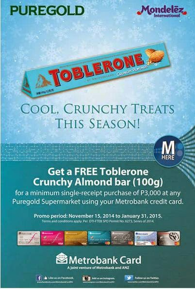 Metrobank Credit Card Promo, Puregold Supermarket Toblerone Promo