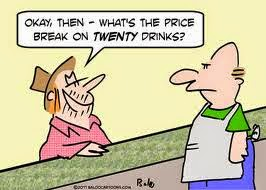 What's the price break on 20 drinks?