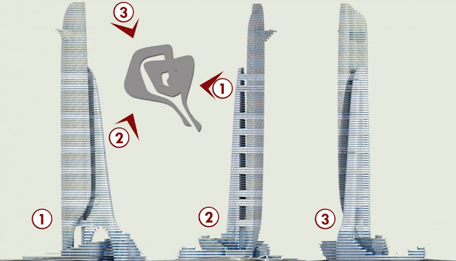 Diagrams of new skyscraper from different sides