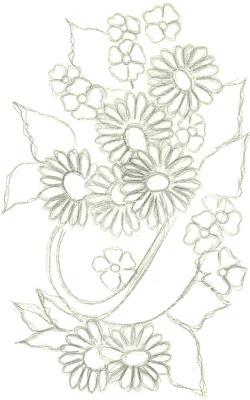 desenhos e riscos de cesta de flores