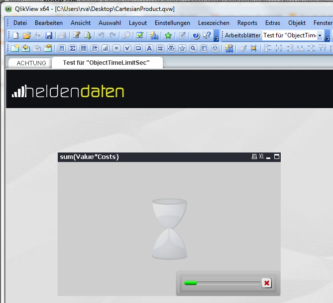 QlikView Screenshot Lange Berechnung