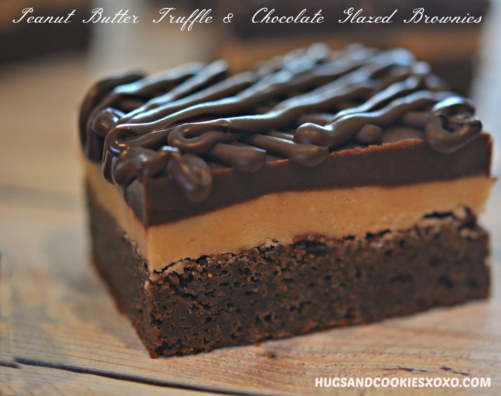 PEANUT BUTTER TRUFFLE & CHOCOLATE GLAZED BROWNIES