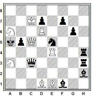 Problema de mate en 2 compuesto por Juan Carlos Morra (II Due Mosse, 1954)