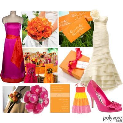 pink orange weddings