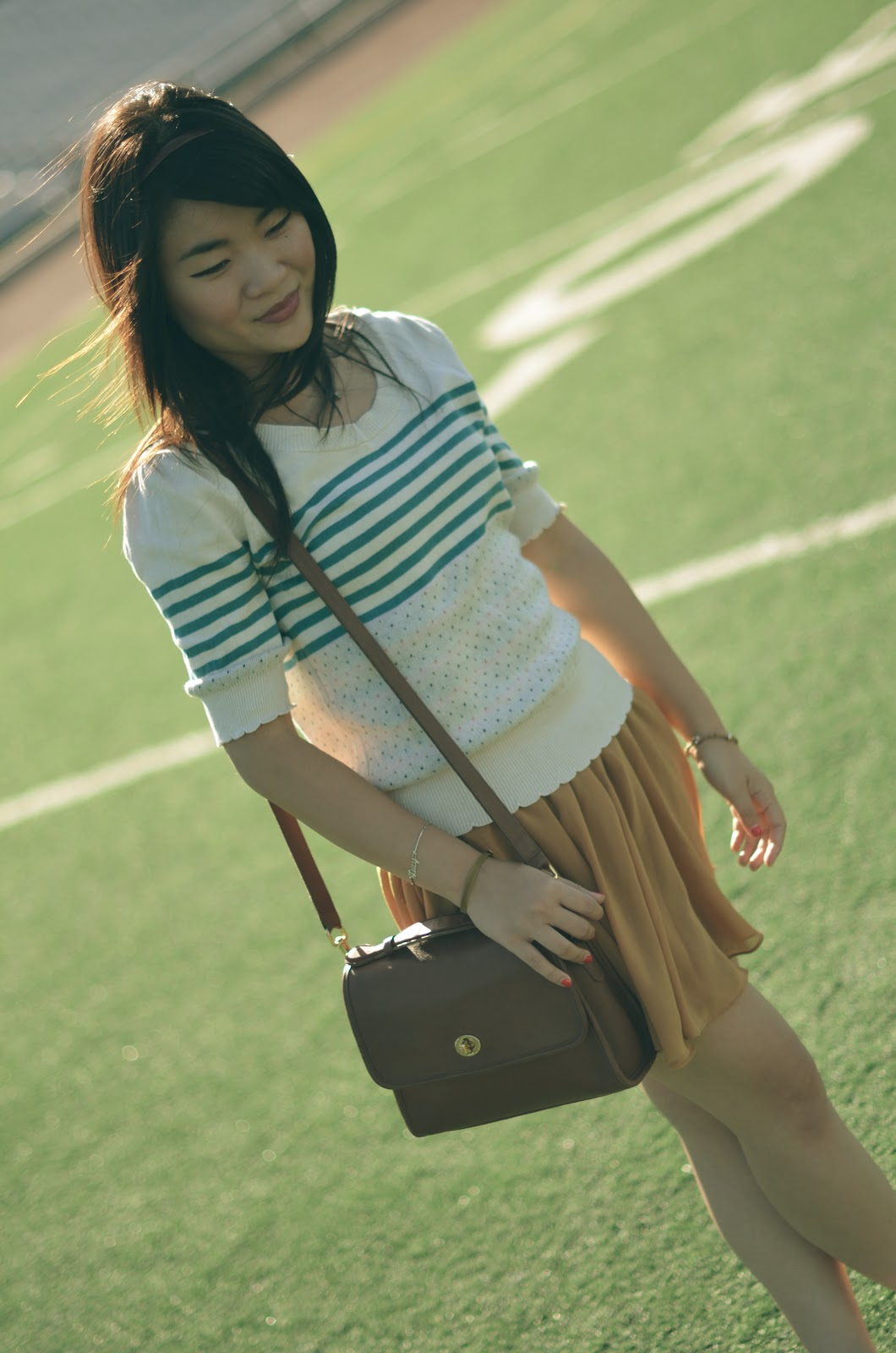 urban outfitters scalloped striped sweater, forever 21 mustard chiffon skirt, forever 21 mustard skirt, coach classic court bag, coach classic court bag british tan, asos floral cap toe oxfords