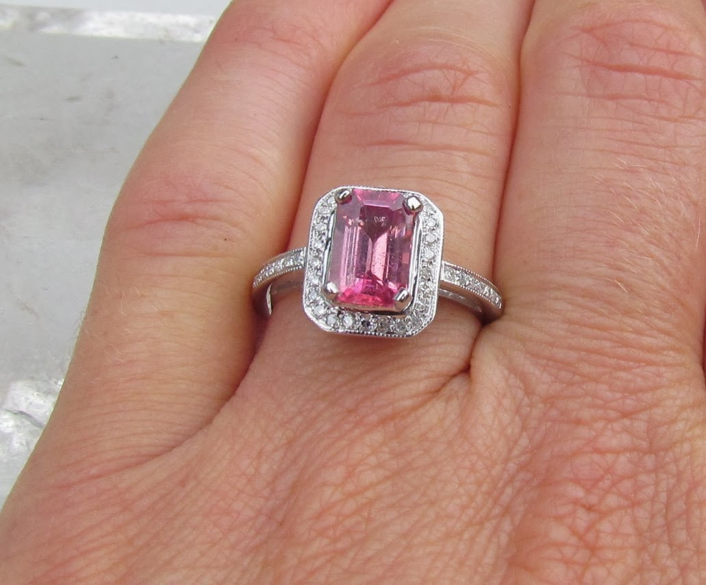 Pink Cushion Cut Engagement Rings
