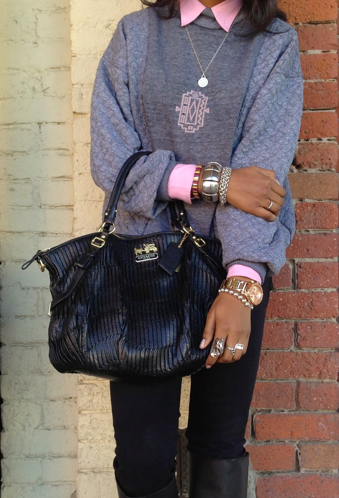 Defining Detials outfit accessories Coach pleated bag Tiffany & Co necklace and bracelet Nixon watch