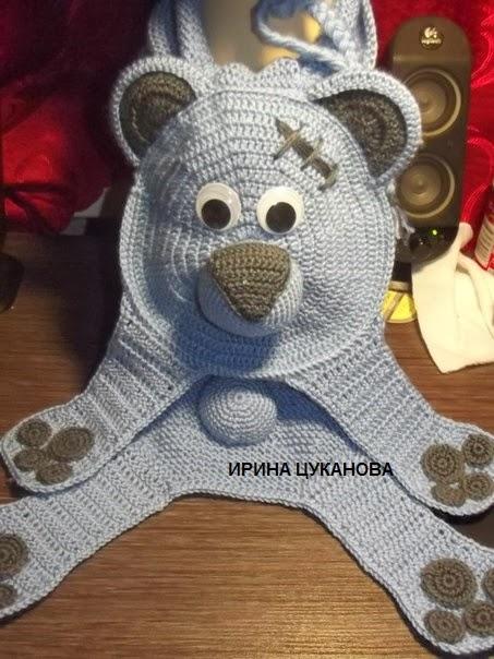 Зверошарф мишка крючком на заказ г. Красноярск