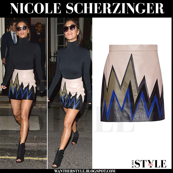 Nicole Scherzinger in zigzag emilio pucci leather mini skirt and black turtleneck sweater what she wore