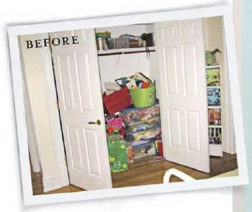 Closet makeover. Closet into Office makeover