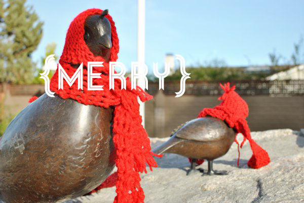 birds with hats and scarves