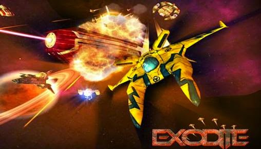 Screenshots of the Exodite Space action shooter for Android tablet, phone.