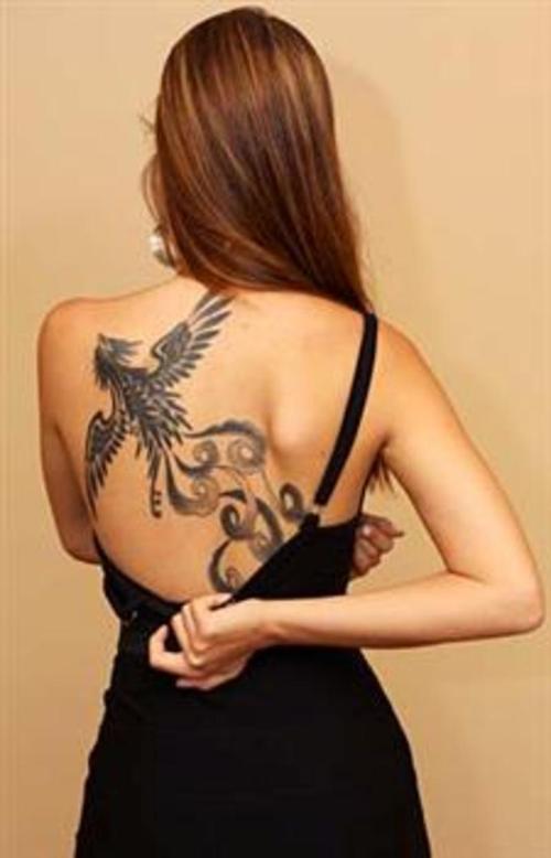 1990tattoos phoenix tattoo on back for Phoenix tattoo on back