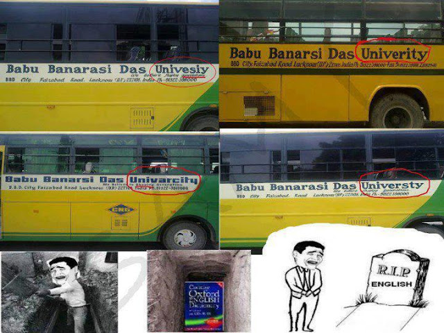 Lucknow University Buses with Funny English Spelling of University