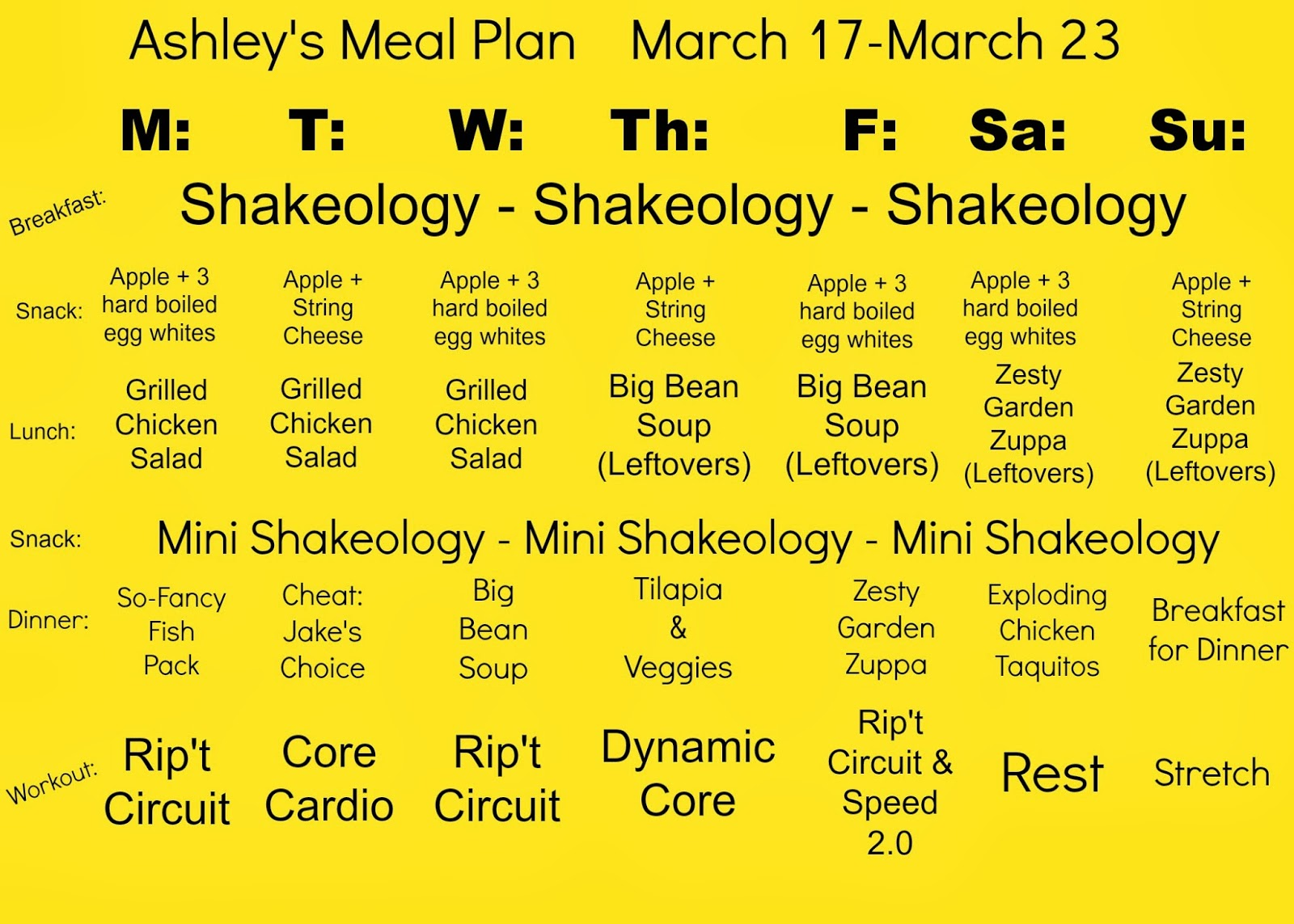 Focus T25 Meal Plan