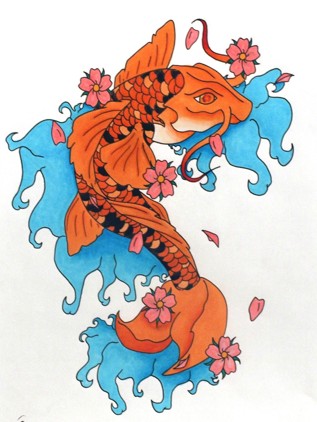 Japanese tattoos fish koi tattoo design for Koi fish tattoo