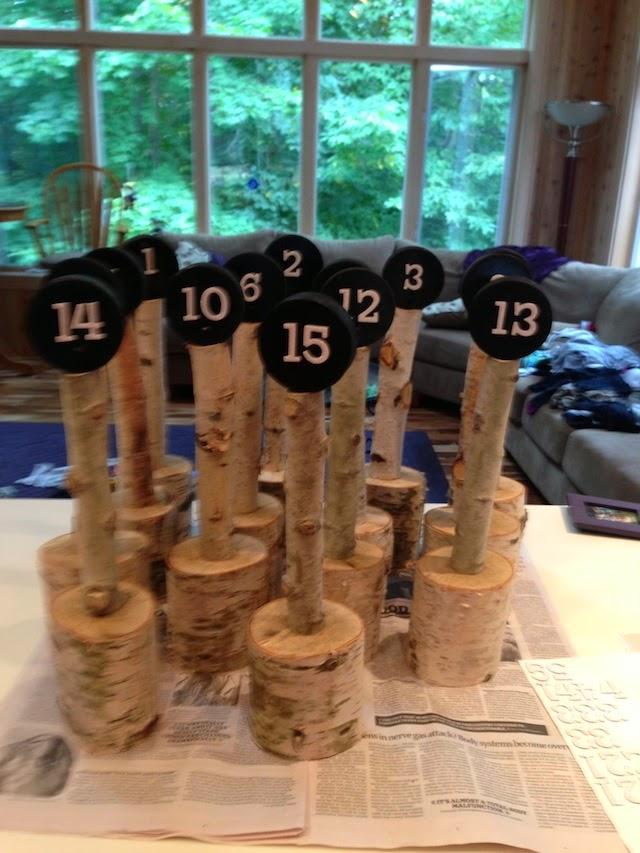DIY hockey puck table numbers